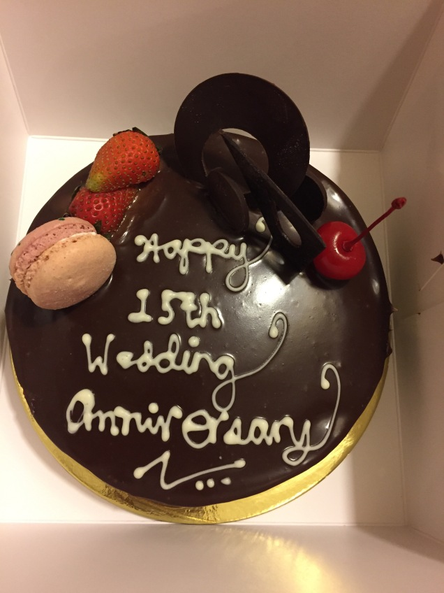 Anniversary cake given by Discovery Suites on our wedding anniversary