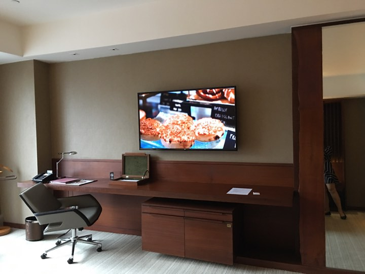 working desk and television